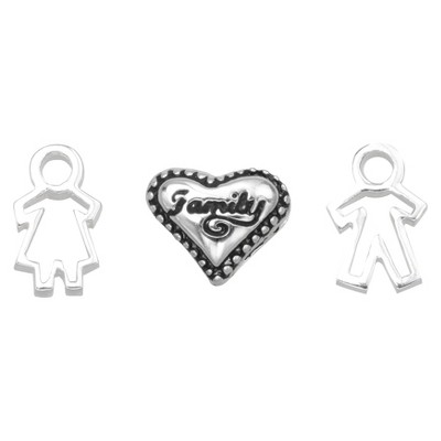 """Treasure Lockets 3 Silver Plated Charm Set with """"Together we Make a Family"""" Theme -Silver"""