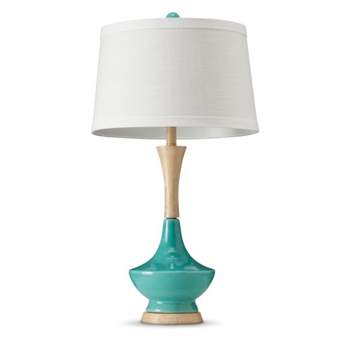 Ceramic Table Lamp With Wood-Style Base - Teal - image 1 of 2