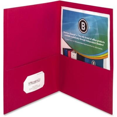 "Business Source 2-Pocket Folders 125 Sht Cap Letter 12""x9"" 25/BX RED 78494"