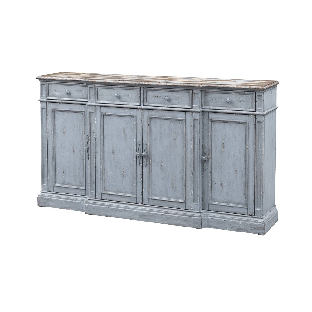 Delaney Stately 4 Door And 4 Drawer Media Credenza Gray Treasure Trove Accents