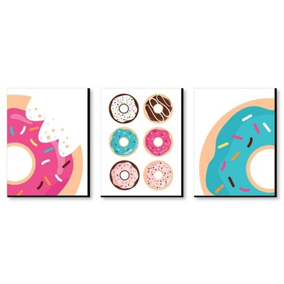 Big Dot of Happiness Donut Worry, Let's Party - Doughnut Kitchen Wall Art, Nursery Decor & Restaurant Decorations - 7.5 x 10 inches - Set of 3 Prints