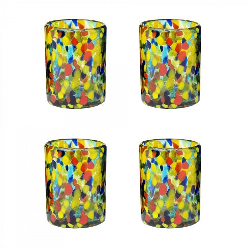 Amici Home Authentic Mexican Handmade Carnaval DOF Glass, 12oz, Assorted Set of 4 - image 1 of 2