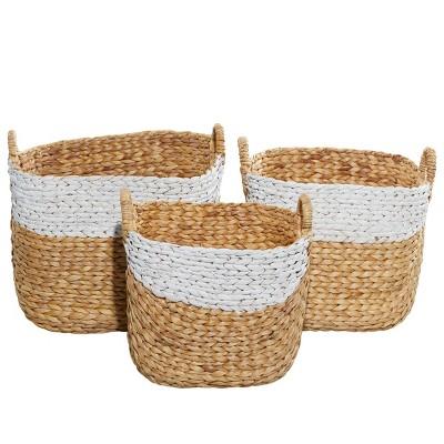 3pk Water Hycinthia Storage Baskets Brown