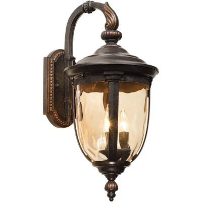"""John Timberland Vintage Outdoor Wall Light Fixture Bronze Metal 20 1/2"""" Champagne Hammered Glass for Exterior House Porch Patio"""
