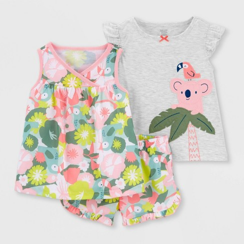 Toddler Girls' 3pc Tropical Koala Pajama Set - Just One You® made by carter's Pink  - image 1 of 3