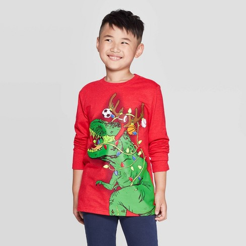 Boys' Long Sleeve Christmas Graphic T-Shirt - Cat & Jack™ Red - image 1 of 3