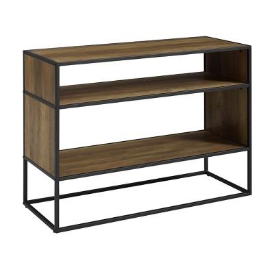 40  Metal and Wood Storage Console Rustic Oak - Saracina Home