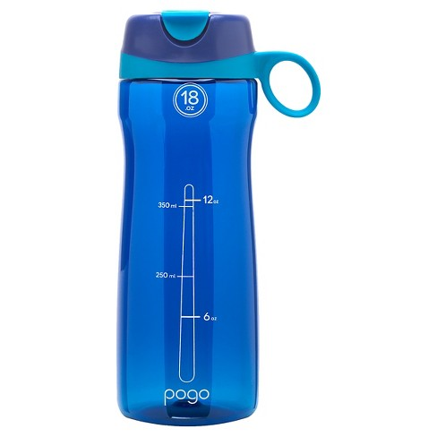 Pogo Tritan Plastic Water Bottle 18oz, Straw Lid - Blue - image 1 of 2