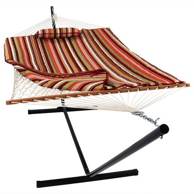 Rope Hammock with Quilted Pad/Pillow and Stand - Tropical Orange - Sunnydaze Decor