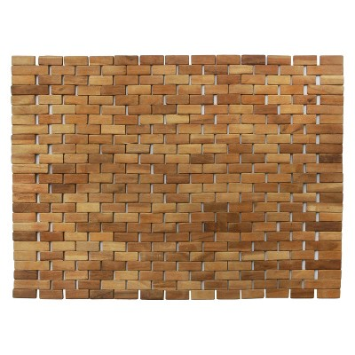 Woven Teak Bath and Shower Mat (Indoor or Outdoor)- Brown - (27.5  x 19.5  x .28 )- Hip-o Modern Living