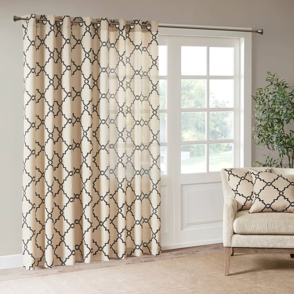 "Image of ""100""""x84"""" Sereno Fretwork Print Blackout Extra Wide Curtain Panel Khaki"""