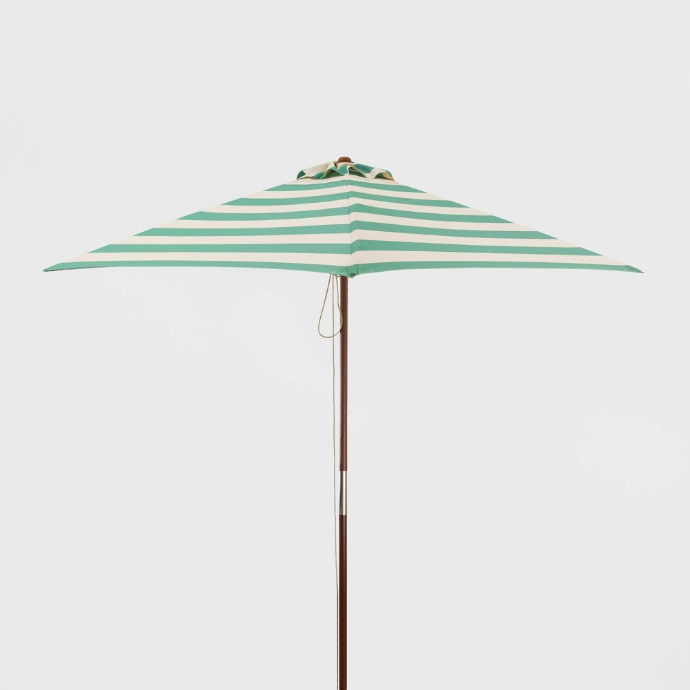 Image of 6.5' Square Classic Wood Striped Market Umbrella Teal/Ivory - Parasol, Blue