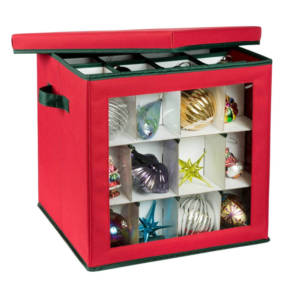 Honey Can Do Holiday Ornament Storage Red Cube