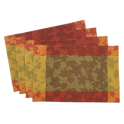 Red And Green Jacquard Placemat - Saro Lifestyle