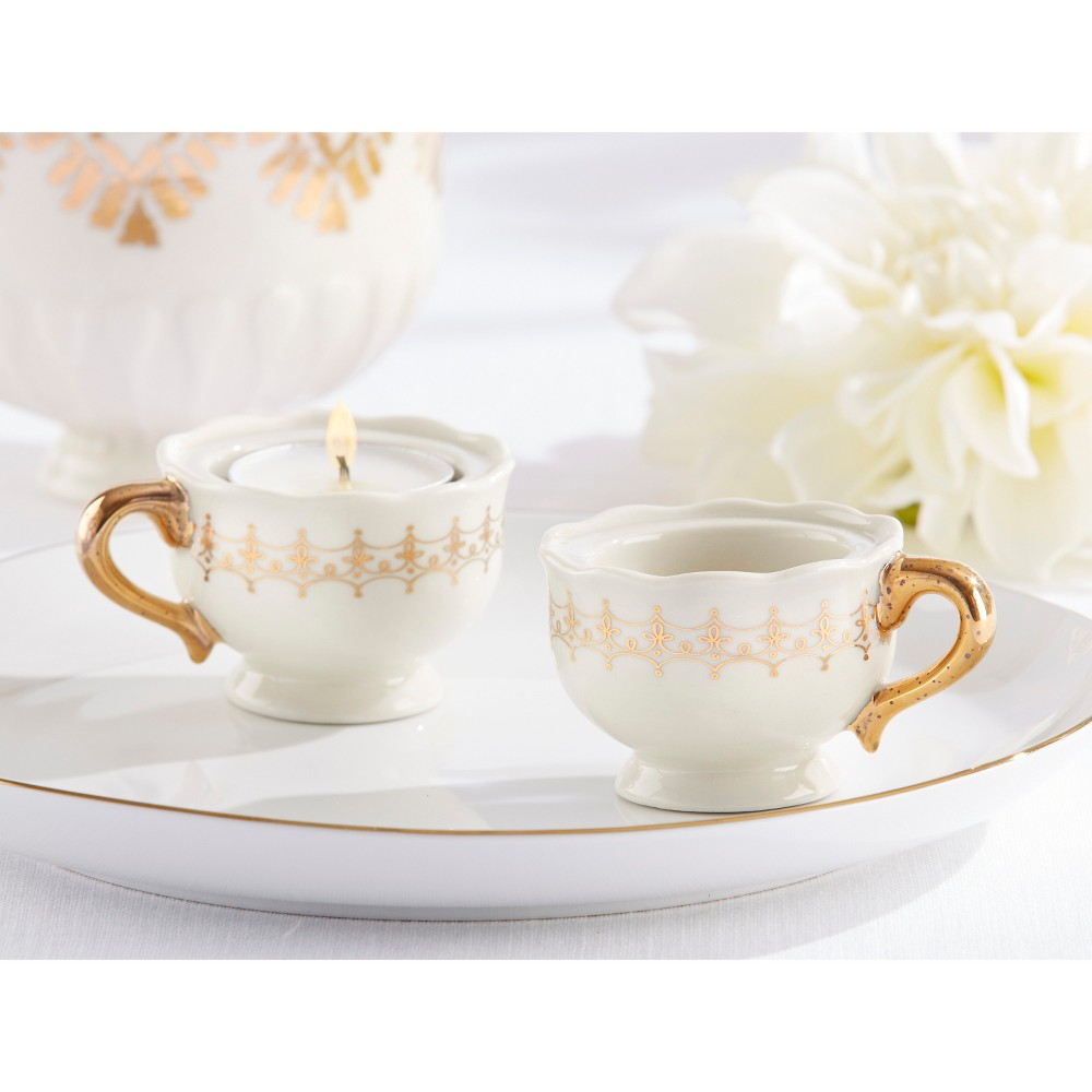 Image of 12ct Classic Teacups Tealight Holder Gold - Kate Aspen, White/Gold