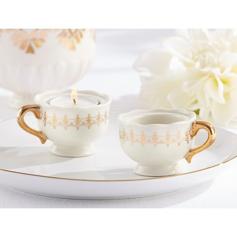 12ct Classic Teacups Tealight Holder Gold - image 1 of 1
