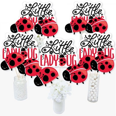 Big Dot of Happiness Happy Little Ladybug - Baby Shower or Birthday Party Centerpiece Sticks - Table Toppers - Set of 15