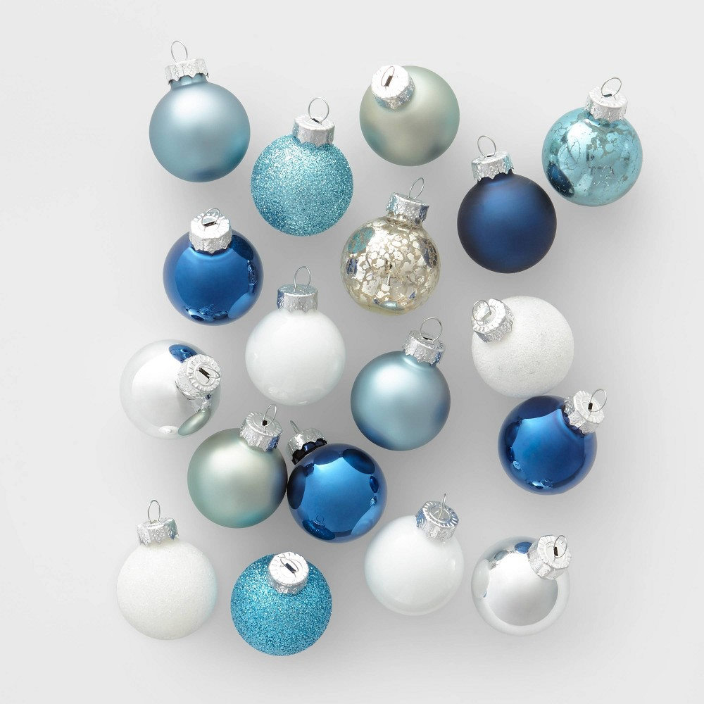 Image of 18ct Mini Glass Round Christmas Ornament Set Blue Silver and White - Wondershop , White Silver Blue