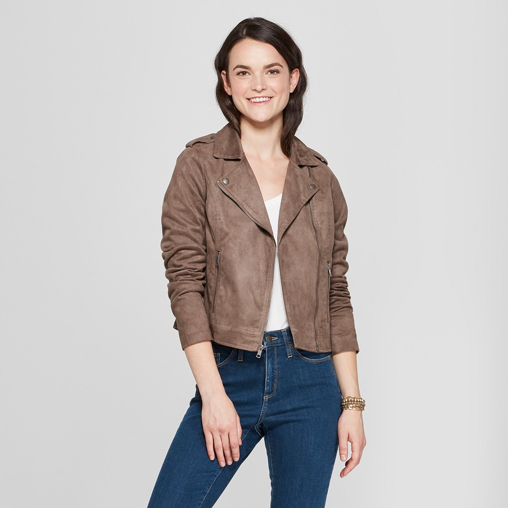 Women's Suede Moto Jacket - A New Day Brown M