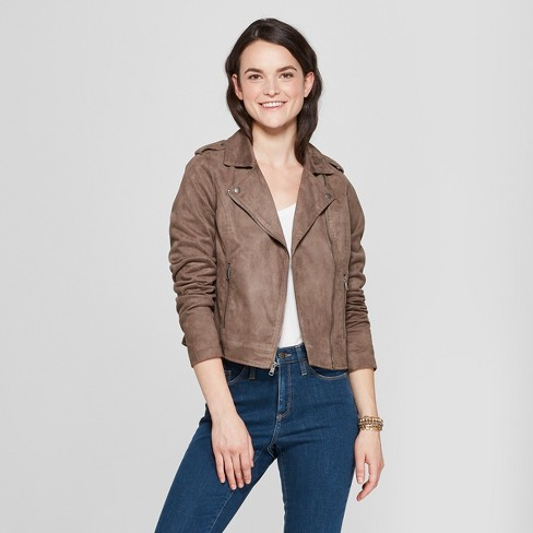 Women's Suede Moto Jacket - A New Day™ - image 1 of 2