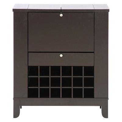 Modesto Modern Dry Bar And Wine Cabinet - Dark Brown - Baxton Studio