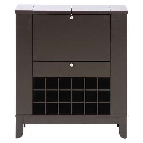 Modesto Modern Dry Bar And Wine Cabinet Dark Brown Baxton Studio