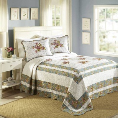 Modern Heirloom Loretta Bedspread White/Blue