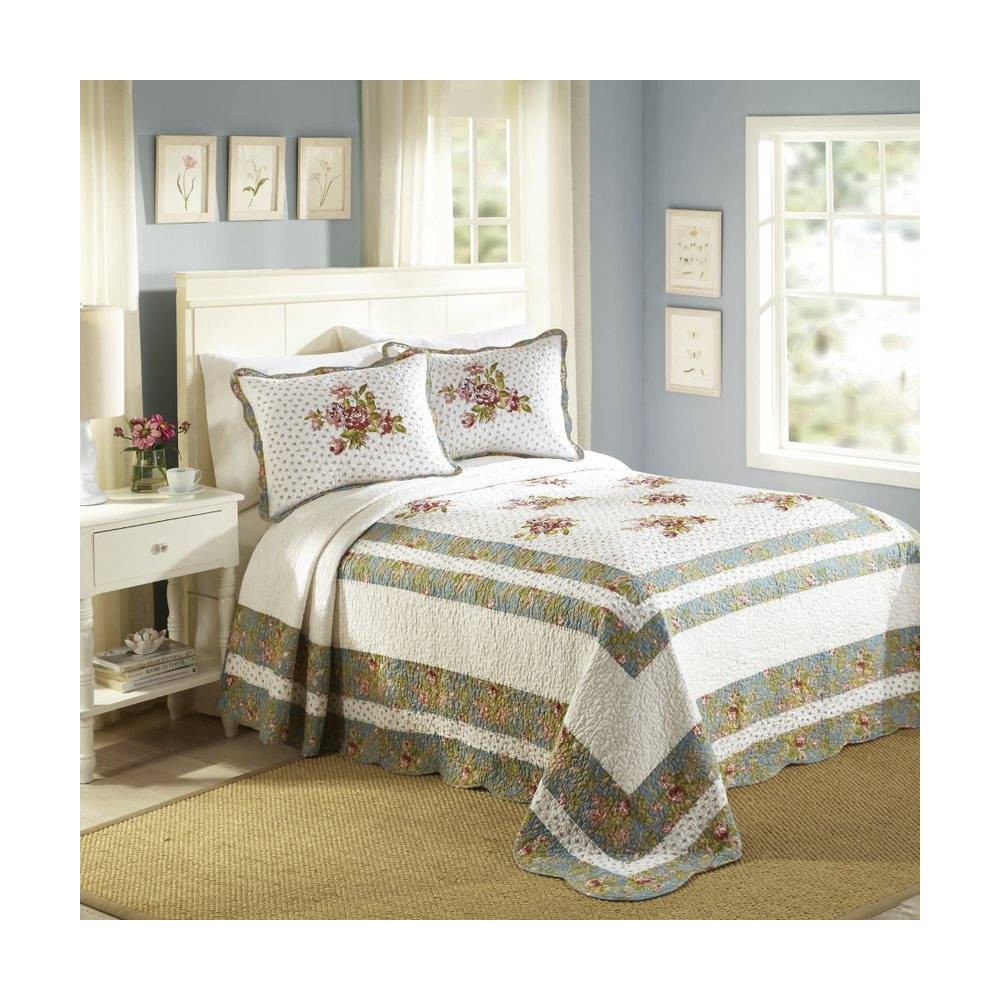 Image of Modern Heirloom King Loretta Bedspread White/Blue, Pink Blue White