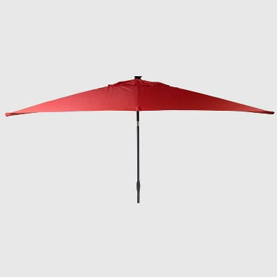 10' x 6' Rectangular Solar Patio Umbrella DuraSeason Fabric™ - Black Pole - Threshold™