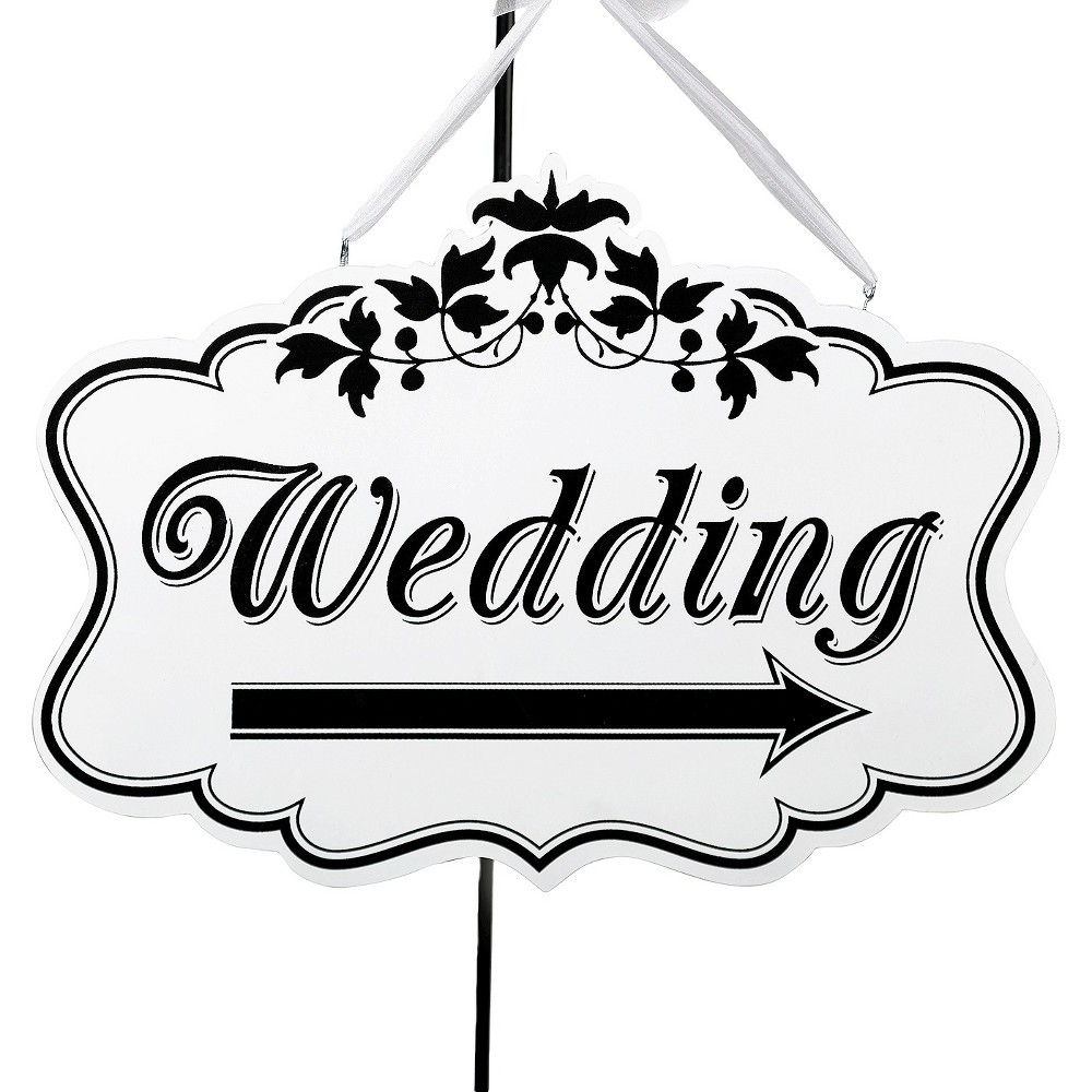 Wedding Direction Sign, Party Decorations and Accessories Point your wedding guests to the right direction — and with effortless style — with this Wedding Direction Sign from Lillian Rose. Made from a sturdy but lightweight wood material, the white wedding directional sign features decorative black text that says  Wedding  as well as a black directional arrow below. It comes complete with two built-in hooks on the top and a white sheer ribbon for pretty and convenient hanging. Gender: Unisex.