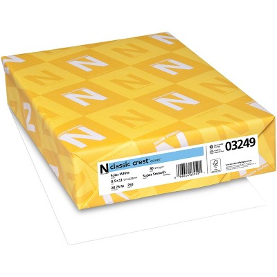 "Neenah 80lb Classic Crest Cardstock 8.5""X11"" 250/Pkg-Solar White, MSRP $.17 Per Sheet"