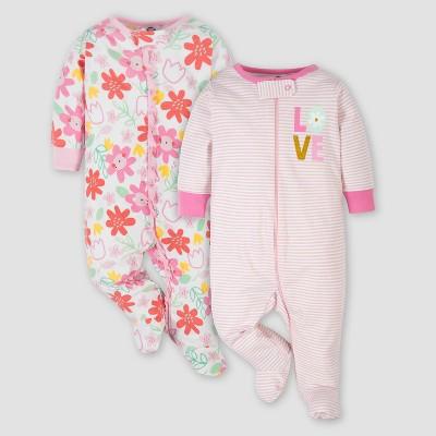 Gerber Baby Girls' 2pk Love Floral Sleep N' Play - Pink