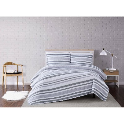Curtis Stripe Quilt Set White/Gray - Truly Soft