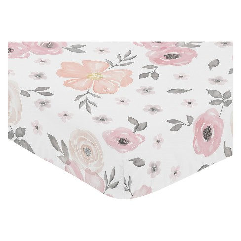 Sweet Jojo Designs Watercolor Floral Fitted Crib Sheet Pink Gray