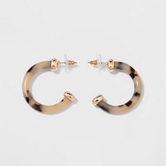 SUGARFIX by BaubleBar Minimal Clear Acrylic Hoop Earrings - Tortoise
