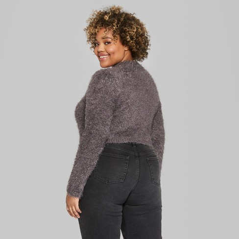 6a70090eccb Women's Plus Size Cropped Fuzzy Crop Mock Neck Sweater - Wild Fable™ Gray  2X : Target