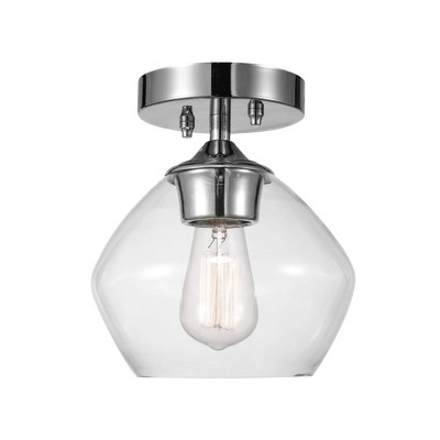 1 Light Harrow Semi Flush Mount Ceiling with Clear Glass Shade Chrome - Globe Electric