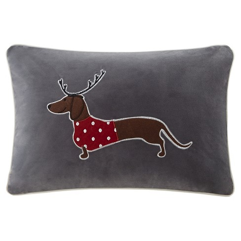 "Gray Dasher The Sleigh Dog Oblong Throw Pillow (14""x20"") - image 1 of 1"
