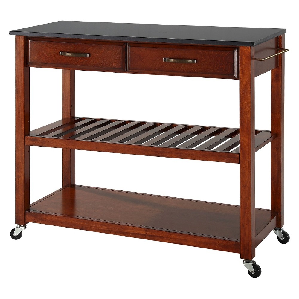 Solid Black Granite Top Kitchen Cart/Island With Optional Stool Storage - Classic Cherry (Red) - Crosley