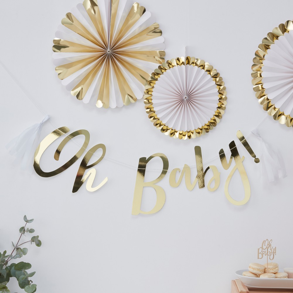 """Image of """"""""""""Oh Baby!"""""""" Foiled Party Banner Gold"""""""
