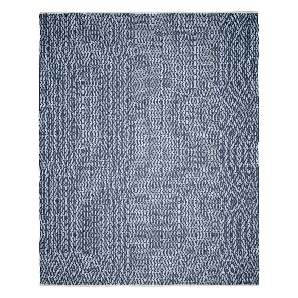 Geometric Woven Area Rug Navy/Ivory