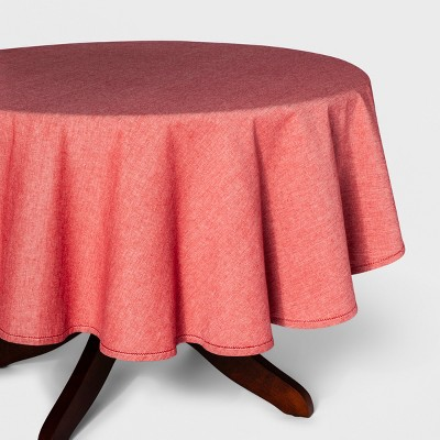 70 R Chambray Hemstitch Tablecloth Red - Threshold™