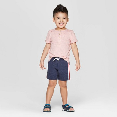 Toddler Boys' 2pc Henley Top and Bottom Set - Cat & Jack™ Red/Navy 2T
