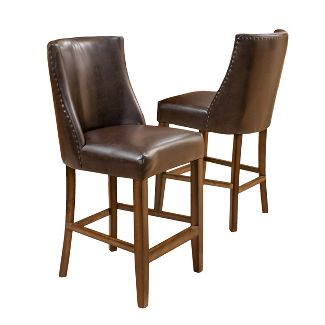 "26.5"" Harman Counter Stool (Set of 2) - Brown Bonded Leather - Christopher Knight Home"