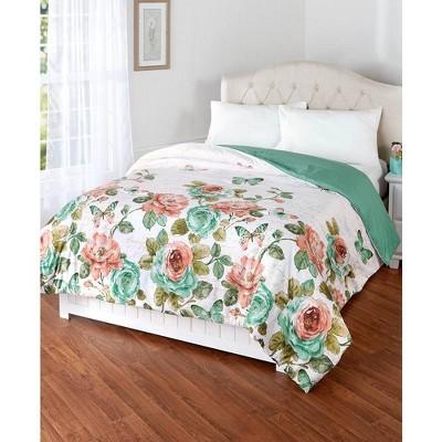 Lakeside Rose Garden Comforter - Floral Farmhouse Bedspread
