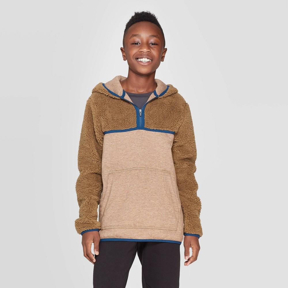 Image of Boys' Half Zip Sherpa Fleece Hoodie - C9 Champion Khaki L, Boy's, Size: Large, Green