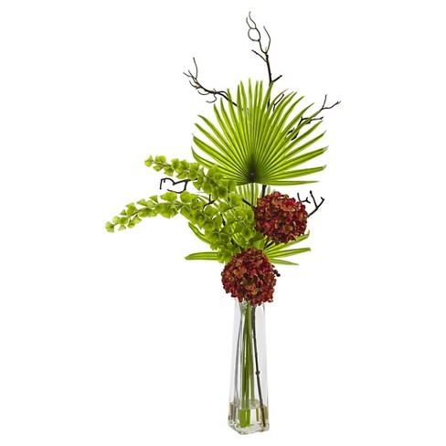 Hydrangea, Bells Of Ireland and Palm Frond Arrangement in Glass Vase - Nearly Natural - image 1 of 1