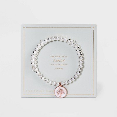 Rose Gold Two-Tone Beaded Bracelet with Charm