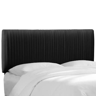 Queen Skylar Upholstered Pleated Headboard Black Velvet - Cloth & Company