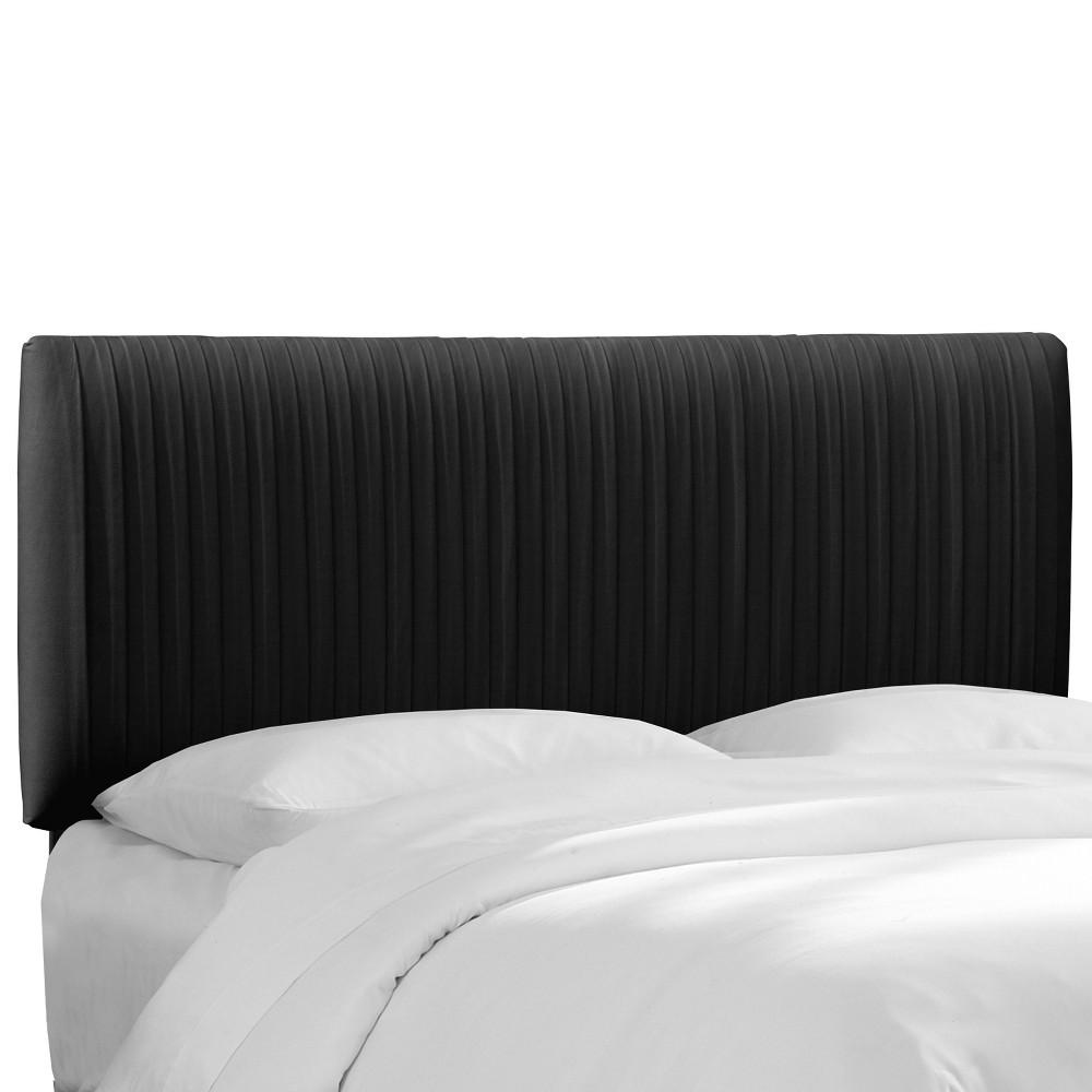 Twin Skylar Upholstered Pleated Headboard Black Velvet Skyline Furniture